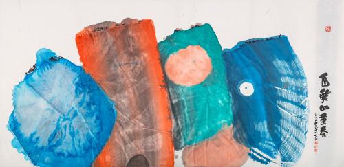 楚戈 自然四重奏 2005 水墨、壓克力、紙本 120x242cm