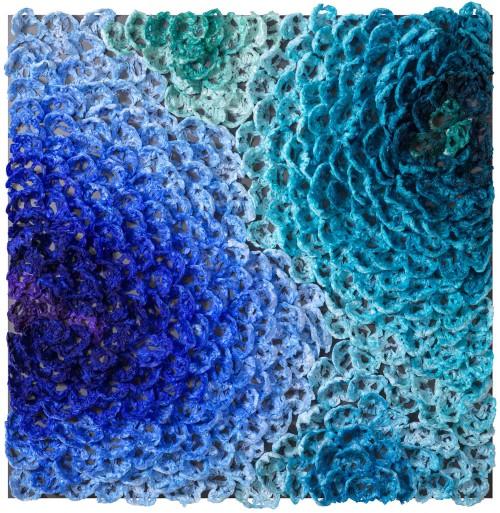 徐薇蕙 生命樂章-向高第致敬-2 2017 複合媒材 (面膜、無酸膠、染劑、鋁板) 120x120x10cm