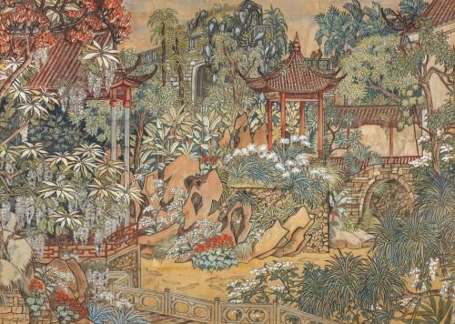 郭雪湖 薰苑(色稿) 膠彩紙本 134x187cm