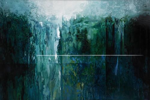 王建文  觀星者系列 II-消失的山谷  2017 油彩畫布 97x145cm