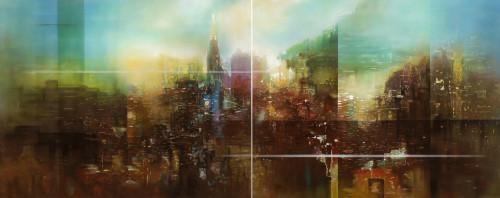 王建文   觀星者系列I—文明的上升  2016  油彩畫布   130x162cmx2