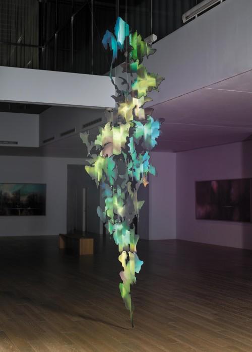 王建文   觀星者系列II-傑克與魔豆  2017  複合媒材(油彩、壓克力彩、木板、壓克力片)   384x102cm