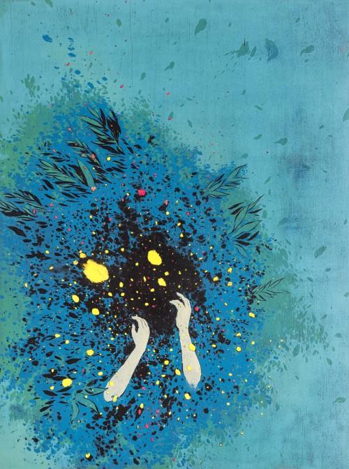 游雅蘭  你看不見我的悲傷 2015 版畫/木刻油印凸版  82x61cm